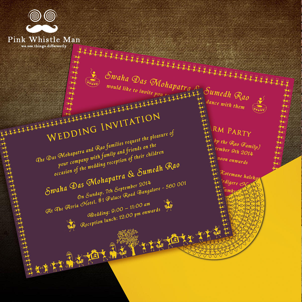 Warli Invites - Pink Whistle Man